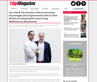 Edge Magazine – The Chef & The Scientist: Oxford University Psychologist Joins Experimental Chef To Solve World's Growing Health Issues Using Multisensory Gastronomy
